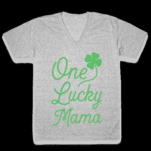 One Lucky Mama V-Neck Tee Shirt