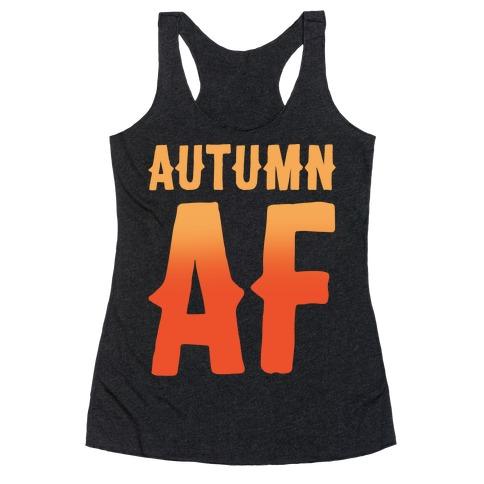 Autumn Af White Print Racerback Tank Top