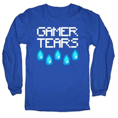 Gamer Tears White Print Long Sleeve T-Shirt