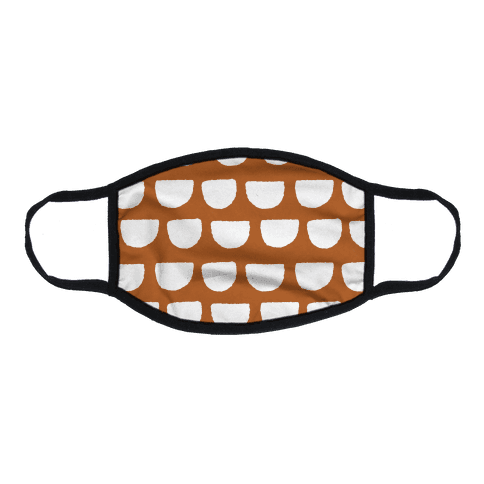 Simple Scallop Pattern Rust Orange Flat Face Mask