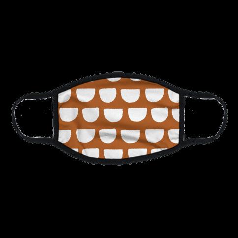 Simple Scallop Pattern Rust Orange Flat Face Mask