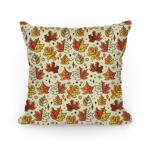 Mid Century Modern Fall Leaves Pillow