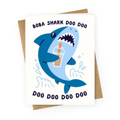 Boba Shark Greeting Card