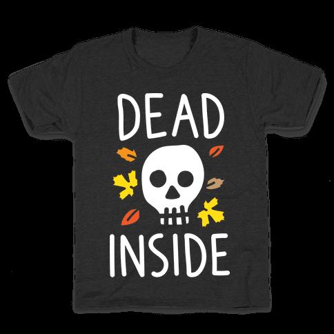 Dead Inside Autumn Skull (White) Kids T-Shirt