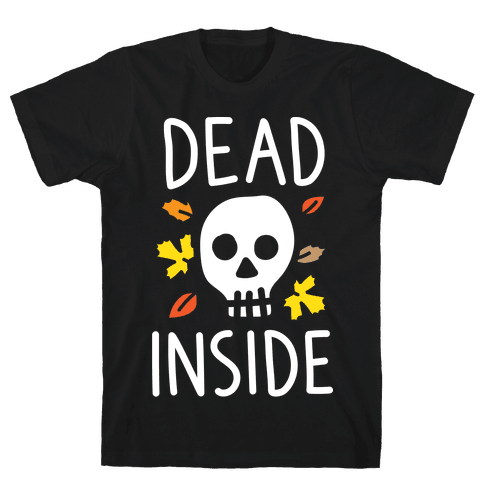 Dead Inside Autumn Skull (White) Mens T-Shirt