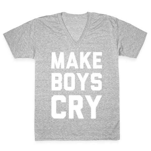 Make Boys Cry V-Neck Tee Shirt