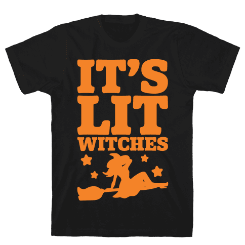 It's Lit Witches White Print Mens T-Shirt