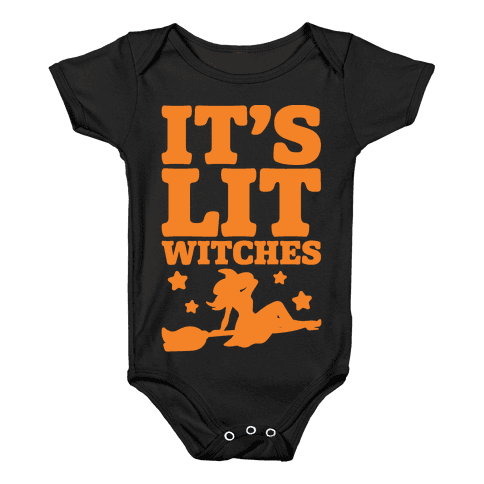 It's Lit Witches White Print Baby Onesy