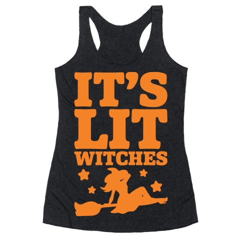 It's Lit Witches White Print Racerback Tank Top