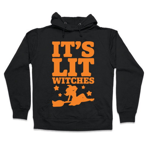 It's Lit Witches White Print Hooded Sweatshirt