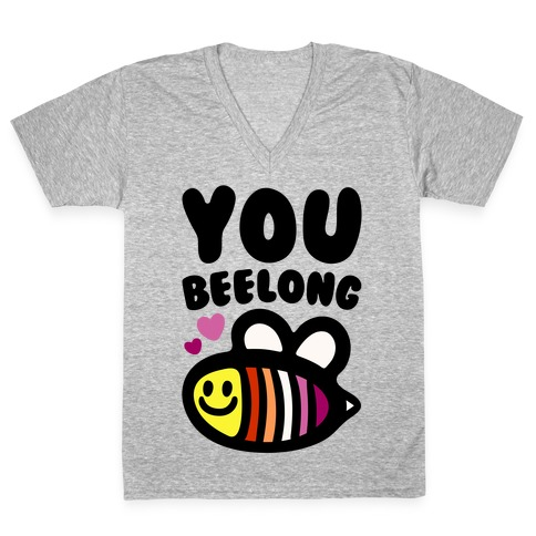 You Belong Lesbian Pride V-Neck Tee Shirt