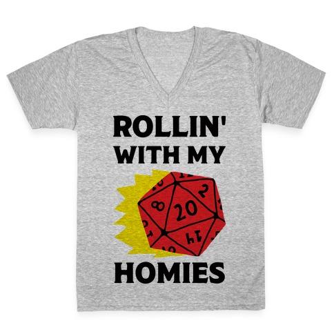 Rollin' With My Homies D&D V-Neck Tee Shirt