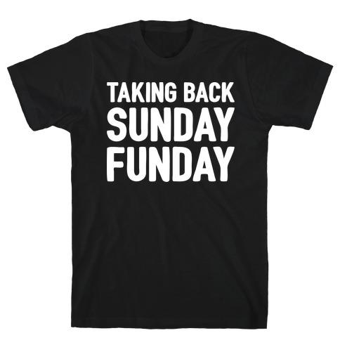 Taking Back Sunday Funday Parody White Print T-Shirt