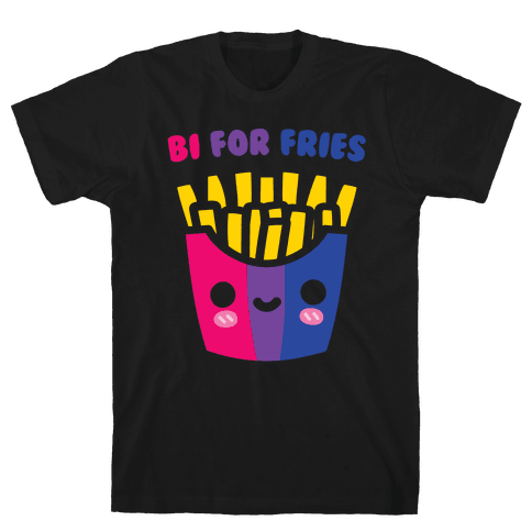 Bi For Fries White Print Mens T-Shirt