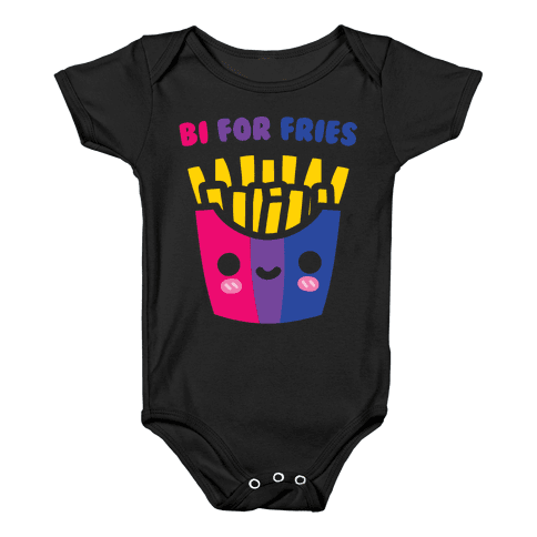 Bi For Fries White Print Baby Onesy