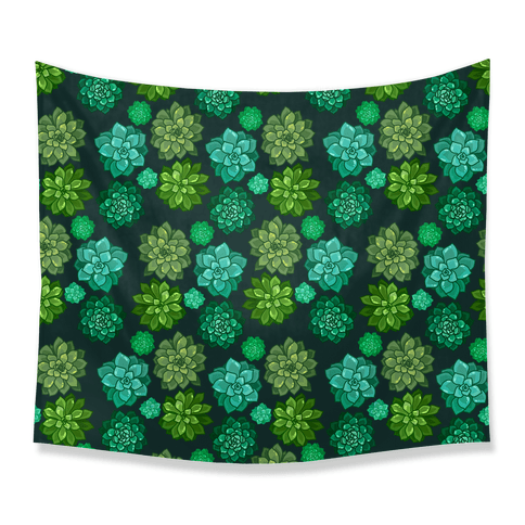 Green Succulent Pattern Tapestry