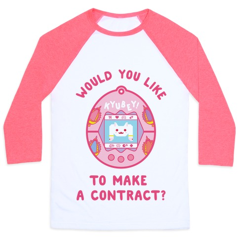 Kyubey Digital Pet Would You Like To Make a Contract? Baseball Tee