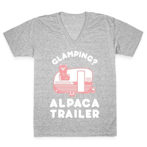 Glamping? Alpaca Trailer V-Neck Tee Shirt