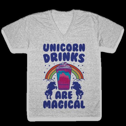 Unicorn Drinks Are Magical Parody V-Neck Tee Shirt