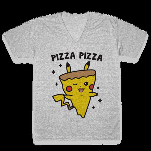 Pizza Pizza Pikachu Parody V-Neck Tee Shirt