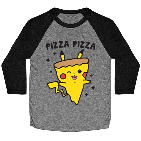 Pizza Pizza Pikachu Parody Baseball Tee