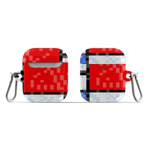 Pixelated Composition With Red Blue And Yellow AirPod Case
