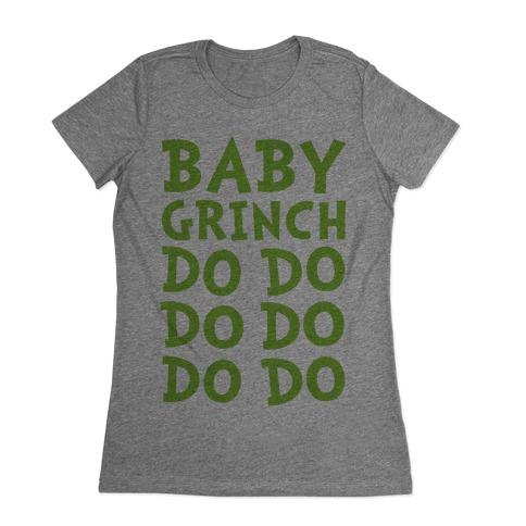 Baby Grinch Baby Shark Parody Womens T-Shirt