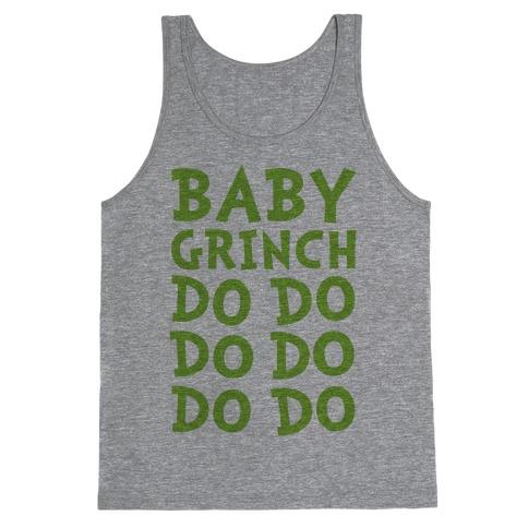 Baby Grinch Baby Shark Parody Tank Top