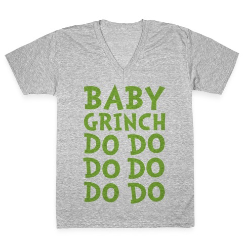 Baby Grinch Baby Shark Parody V-Neck Tee Shirt