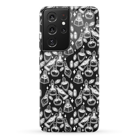 White On Black Potions Pattern Phone Case