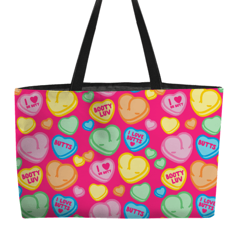 Candy Heart Butts Weekender Tote