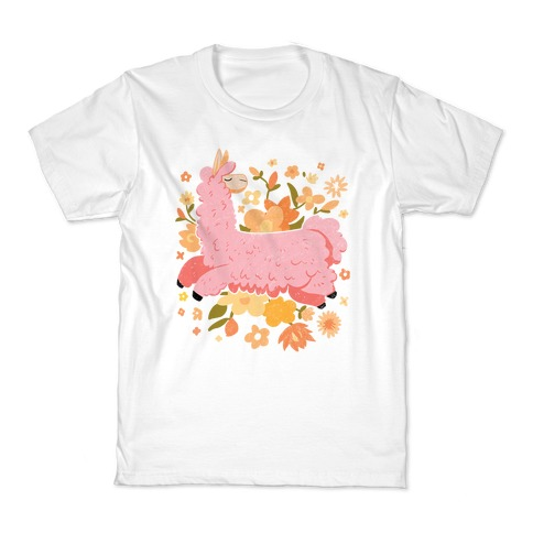 Llama Among Flowers Kids T-Shirt