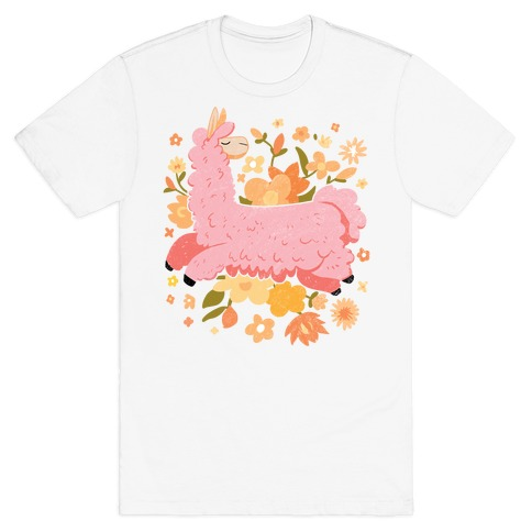 Llama Among Flowers T-Shirt