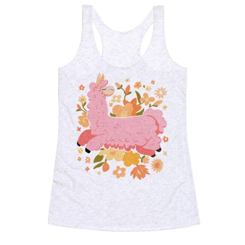 Llama Among Flowers Racerback Tank Top