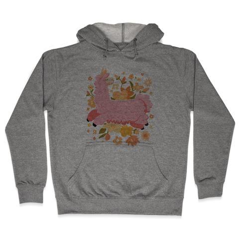 Llama Among Flowers Hooded Sweatshirt