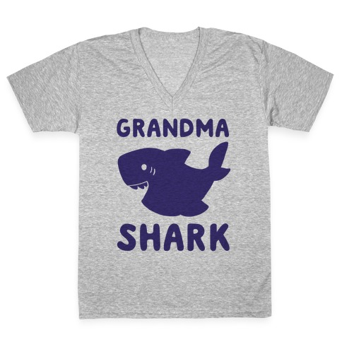 Grandma Shark (1 of 5 set) V-Neck Tee Shirt