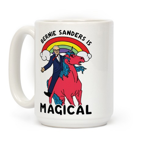 Bernie Sanders on a Magical Unicorn Coffee Mug