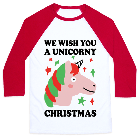 We Wish You A Unicorny Christmas Baseball Tee
