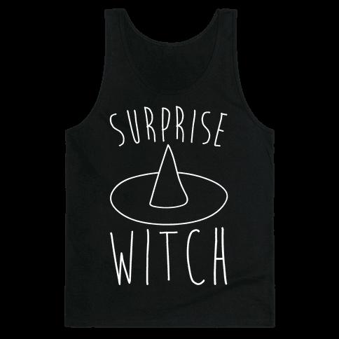 Surprise Witch Parody White Print Tank Top