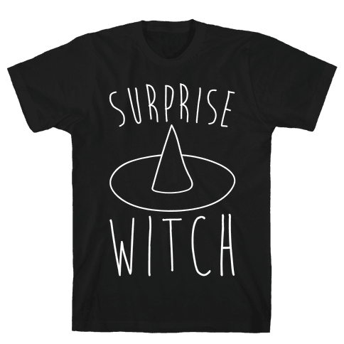 Surprise Witch Parody White Print Mens T-Shirt