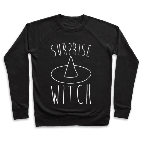 Surprise Witch Parody White Print Pullover