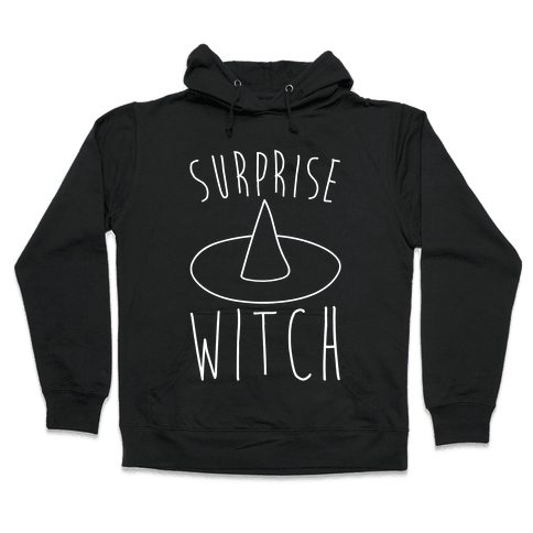 Surprise Witch Parody White Print Hooded Sweatshirt
