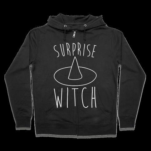Surprise Witch Parody White Print Zip Hoodie