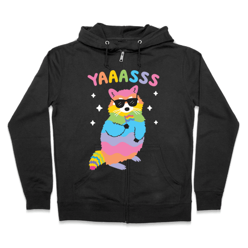 Yas Rainbow Raccoon Zip Hoodie
