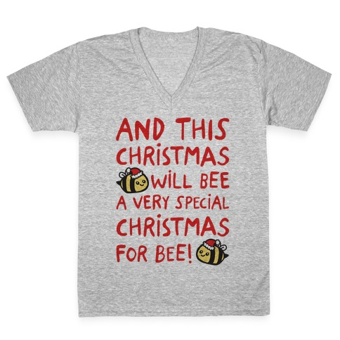 This Christmas Will Bee Parody V-Neck Tee Shirt