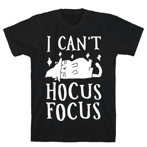 I Can't Hocus Focus Halloween Cat Mens T-Shirt