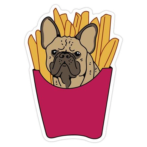 French Fry French Bulldog Die Cut Sticker