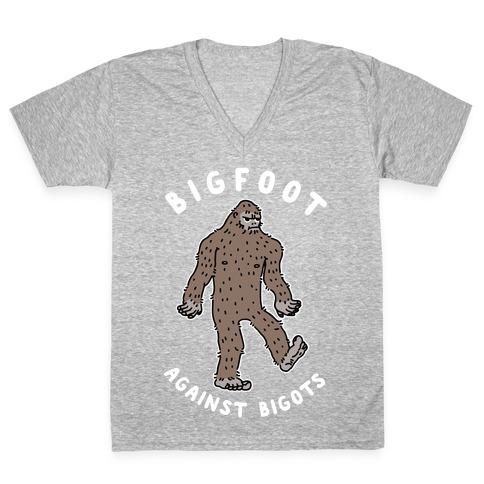 Bigfoot Against Bigots V-Neck Tee Shirt