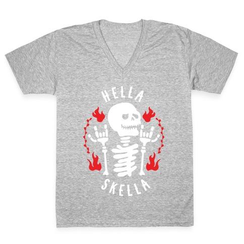 Hella Skella V-Neck Tee Shirt