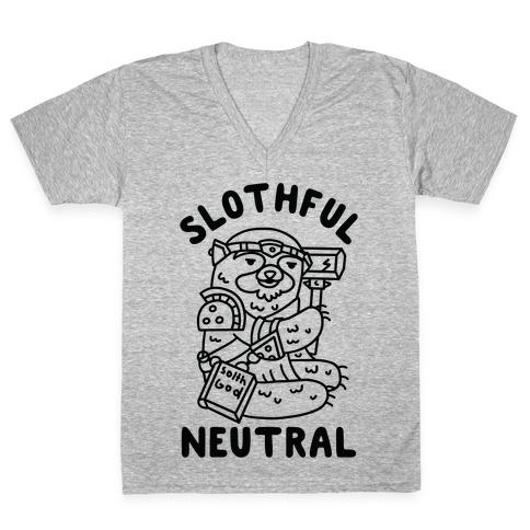 Slothful Neutral Sloth Cleric V-Neck Tee Shirt